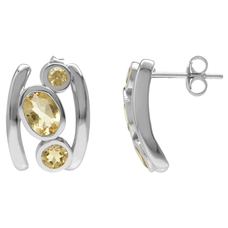2.2ct. 3-Stone Natural Citrine White Gold Plated 925 Sterling Silver Modern Style Post Earrings