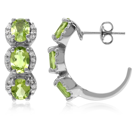 5.28ct. 3-Stone Natural Oval Shape Peridot White Gold Plated 925 Sterling Silver C-Hoop Earrings