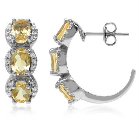 4.44ct. 3-Stone Natural Oval Shape Citrine White Gold Plated 925 Sterling Silver C-Hoop Earrings