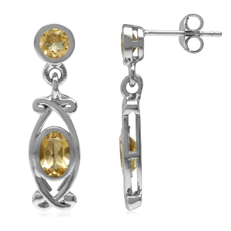 1.38ct. Natural Citrine White Gold Plated 925 Sterling Silver Victorian Style Dangle Post Earrings