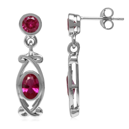 Simulated Red Ruby White Gold Plated 925 Sterling Silver Victorian Style Dangle Post Earrings