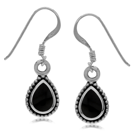 Pear Shape Created Black Onyx Inlay 925 Sterling Silver Bali/Balinese Style Drop Dangle Earrings