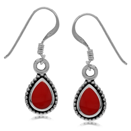 Pear Shape Created Red Coral Inlay 925 Sterling Silver Bali/Balinese Style Drop Dangle Hook Earrings