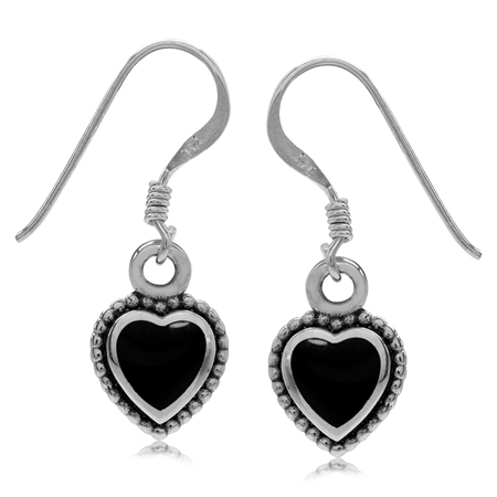 Heart Shape Created Black Onyx Inlay 925 Sterling Silver Bali/Balinese Style Drop Dangle Earrings