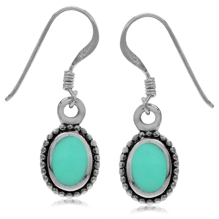 Oval Shape Created Green Turquoise Inlay 925 Sterling Silver Balinese Style Drop Dangle Earrings