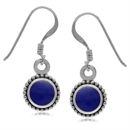 Round Shape Created Blue Lapis Inlay 925 Sterling Silver Balinese Style Drop Dangle Hook Earrings