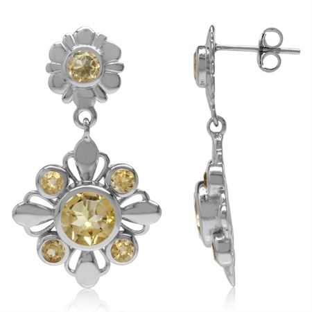 3.8ct. Natural Round Shape Citrine White Gold Plated 925 Sterling Silver Flower Dangle Post Earrings