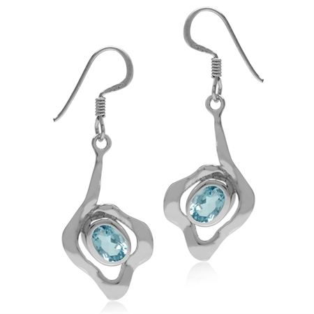 2ct. Genuine Oval Shape Blue Topaz White Gold Plated 925 Sterling Silver Textured Dangle Earrings