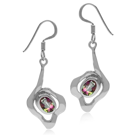 1.78ct. Oval Shape Mystic Fire Topaz White Gold Plated 925 Sterling Silver Textured Dangle Earrings