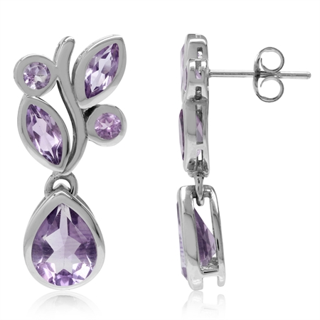 5.02ct. Natural Amethyst White Gold Plated 925 Sterling Silver Leaf Dangle Post Earrings