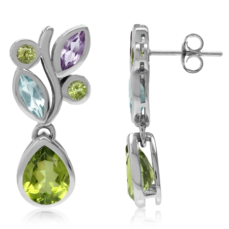 Peridot, Amethyst & Blue Topaz White Gold Plated 925 Sterling Silver Leaf Dangle Post Earrings