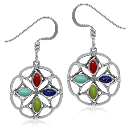 Created Coral, Turquoise, Gaspeite & Lapis 925 Sterling Silver Southwest Inspired Circle Earrings