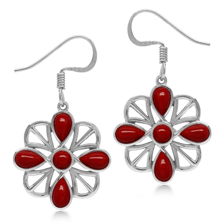 Created Red Coral White Gold Plated 925 Sterling Silver Southwest Inspired Dangle Hook Earrings