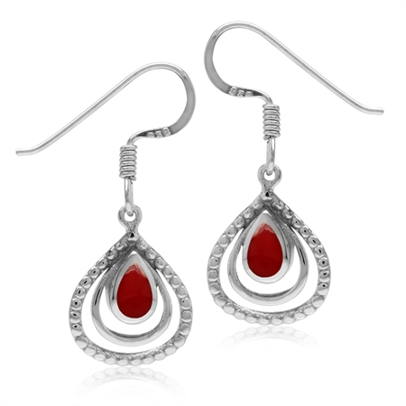 Created Red Coral White Gold Plated 925 Sterling Silver Drop Dangle Hook Earrings
