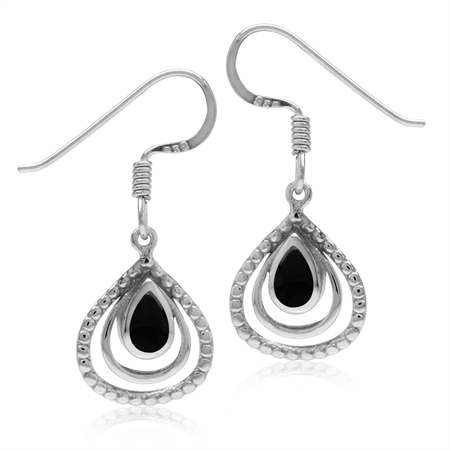 Created Black Onyx White Gold Plated 925 Sterling Silver Drop Dangle Hook Earrings