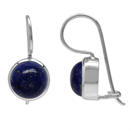 8MM Genuine Lapis White Gold Plated 925 Sterling Silver Hook Closure Earrings