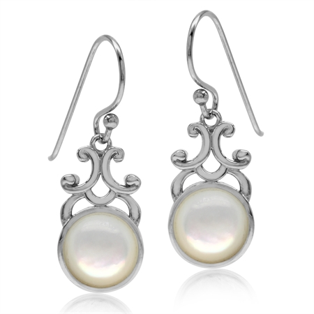 Mother Of Pearl White Gold Plated 925 Sterling Silver Filigree Swirl Dangle Hook Earrings