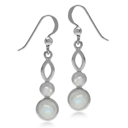 Natural Round Shape Moonstone White Gold Plated 925 Sterling Silver Dangle Hook Earrings