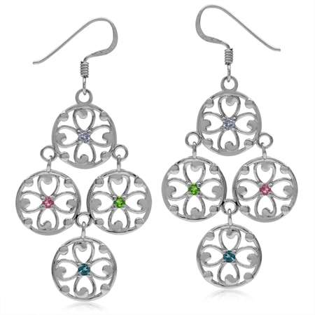 Tanzanite, Chrome Diopside, Tourmaline & London Blue 925 Sterling Silver Flower Chandelier Earrings