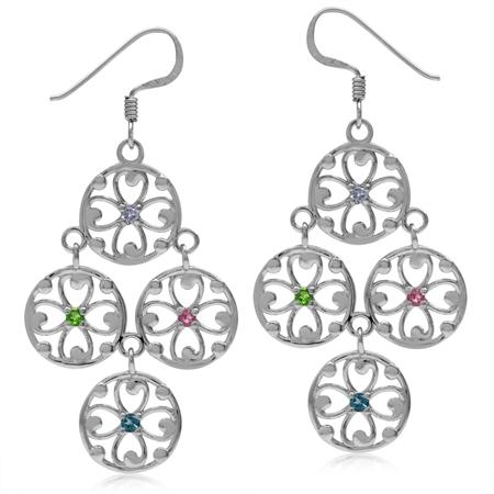 Tanzanite, Chrome Diopside, Tourmaline & London Blue 925 Sterling Silver Flower Chandelier Earrings