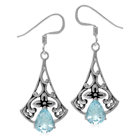 2.6ct. Genuine Blue Topaz 925 Sterling Silver Flower Vintage Inspired Drop Dangle Hook Earrings