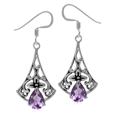 2.14ct. Natural Amethyst 925 Sterling Silver Flower Vintage Inspired Drop Dangle Hook Earrings