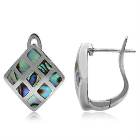Abalone/Paua Shell Inlay White Gold Plated 925 Sterling Silver English Hook Earrings