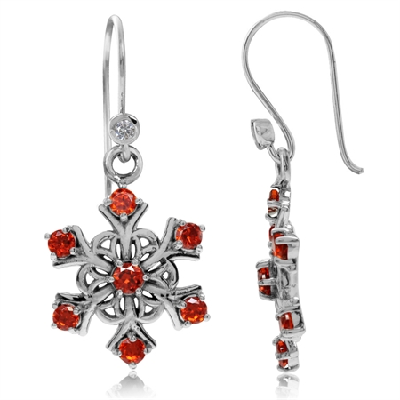 Orange CZ 925 Sterling Silver Snowflake Cluster Dangle Hook Earrings