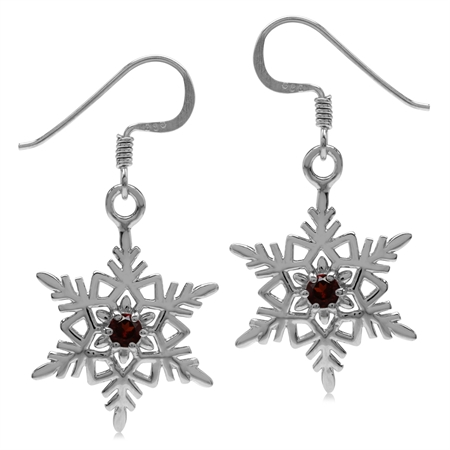 Natural Garnet White Gold Plated 925 Sterling Silver Snowflake Dangle Hook Earrings