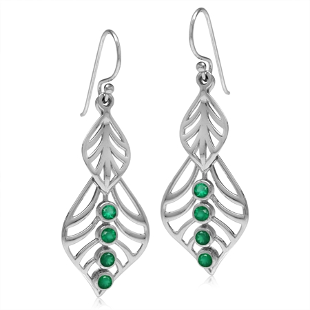 Natural Emerald Green Agate White Gold Plated 925 Sterling Silver Filigree Leaf Dangle Hook Earrings