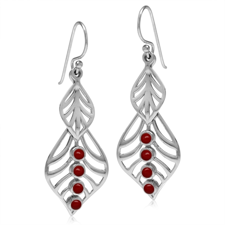Created Red Coral White Gold Plated 925 Sterling Silver Filigree Leaf Dangle Hook Earrings