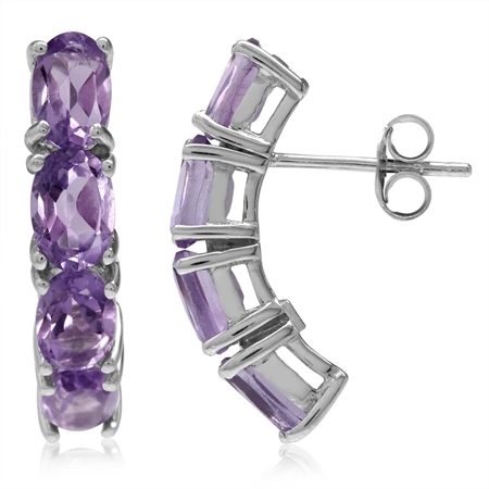 3.36ct. Natural Oval Shape Amethyst White Gold Plated 925 Sterling Silver Post Earrings