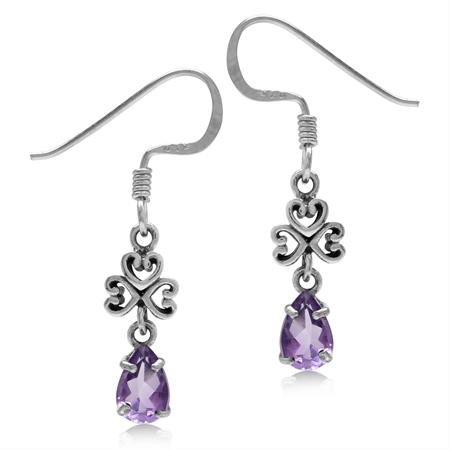 Petite Natural Amethyst 925 Sterling Silver Filigree Heart Dangle Hook Earrings
