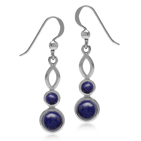 Genuine Round Shape Lapis White Gold Plated 925 Sterling Silver Dangle Hook Earrings