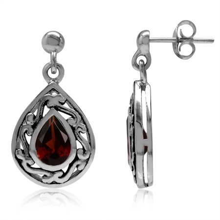 1.64ct. 7x5MM Natural Pear Shape Garnet 925 Sterling Silver Filigree Drop Dangle Post Earrings