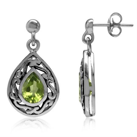 1.44ct. 7x5MM Natural Pear Shape Peridot 925 Sterling Silver Filigree Drop Dangle Post Earrings