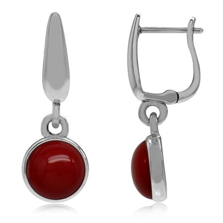925 Sterling Silver Huggie Hoop Earrings w/ Created Red Coral Dangle Drop