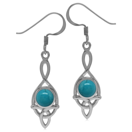 6MM Genuine Round Shape Arizona Turquoise 925 Sterling Silver Triquetra Celtic Knot Dangle Earrings