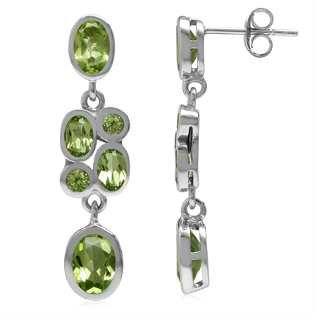 Natural Green Peridot & Arizona Peridot White Gold Plated 925 Sterling Silver Cluster Post Earrings