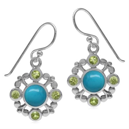 Genuine 6MM Arizona Turquoise & Peridot 925 Sterling Silver Filigree Flower Dangle Hook Earrings
