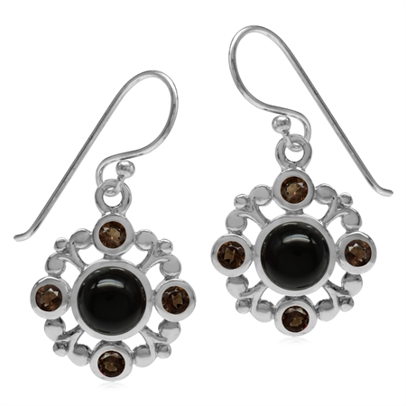 Genuine 6MM Black Onyx & Smoky Quartz 925 Sterling Silver Filigree Flower Dangle Hook Earrings