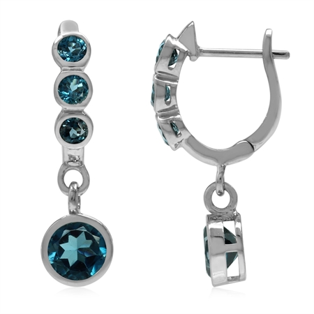 2.88ct. Genuine Round London Blue Topaz White Gold Plated 925 Sterling Silver English Hook Earrings