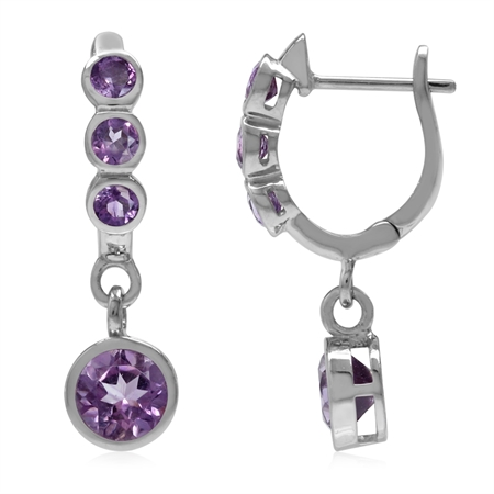 1.92ct. Natural Round Shape Amethyst White Gold Plated 925 Sterling Silver English Hook Earrings