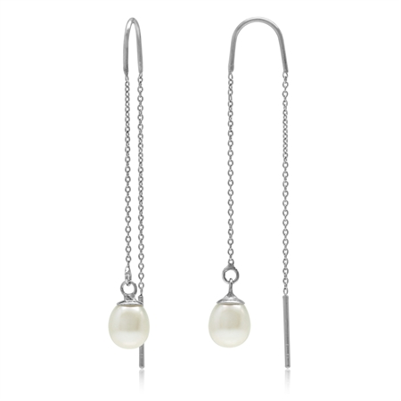 White Natural Pearl 925 Sterling Silver Threader Earrings