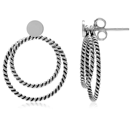 925 Sterling Silver Double Rope Twist O-Hoop Earrings