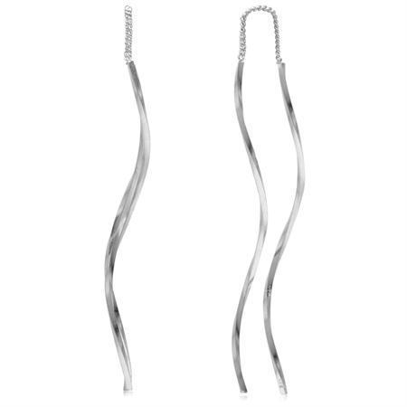 Long Twisted Stick 925 Sterling Silver Wavy Minimalist Threader Earrings