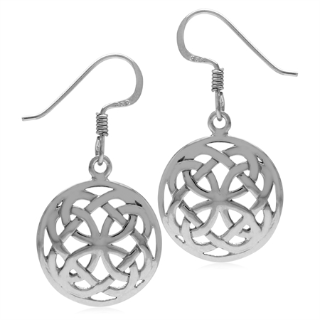 White Gold Plated 925 Sterling Silver Irish Celtic Knot in Circle Dangle Hook Earrings