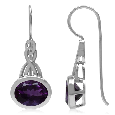 3.2ct. 9x7MM Natural Oval Shape African Amethyst 925 Sterling Silver Celtic Knot Hook Earrings