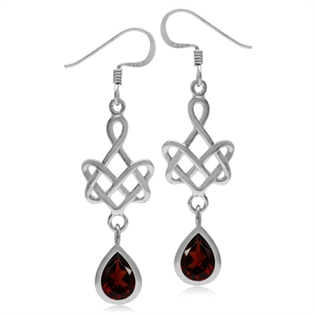 2.48ct. 8x6MM Natural Pear Shape Garnet 925 Sterling Silver Celtic Heart Knot Dangle Hook Earrings