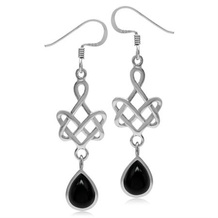 8x6MM Genuine Pear Shape Black Onyx 925 Sterling Silver Celtic Heart Knot Dangle Hook Earrings